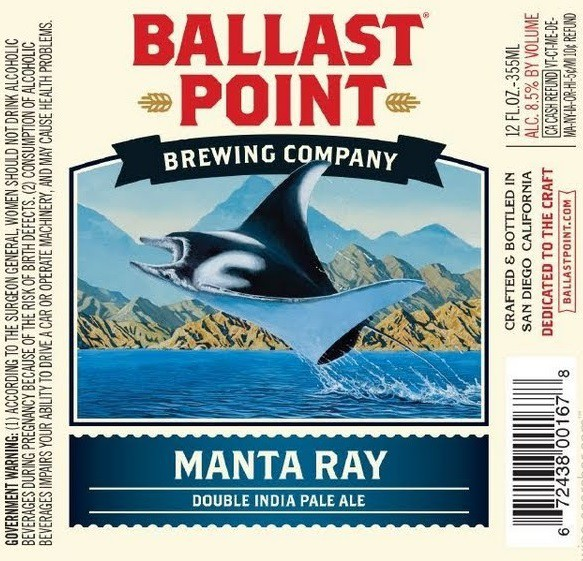 Ballast Point Manta Ray Double IPA Sixtel Keg 5.16 Gal