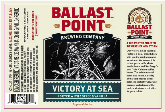 """Ballast Point """"Victory at Sea"""" Imperial Porter Sixtel 5.16 Gal"""
