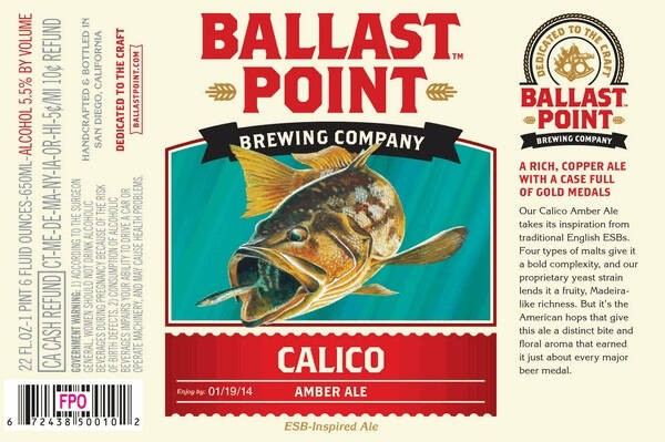 Ballast Point Calico Amber Ale Sixtel Keg 5.16 Gal