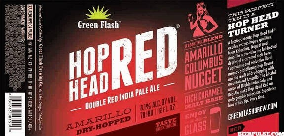 Green Flash Hop Head Double Red IPA Full Keg 15.5 Gal