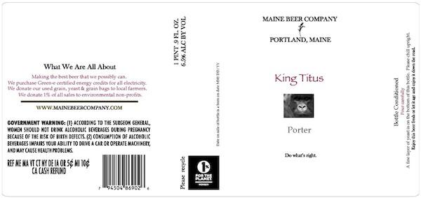 Maine Beer King Titus Porter Sixtel Keg 5.16 Gal