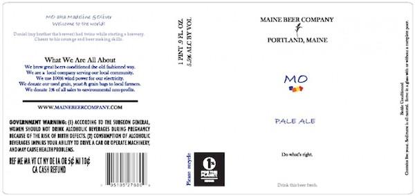 Maine Beer Mo Pale Ale Sixtel Keg 5.16 Gal