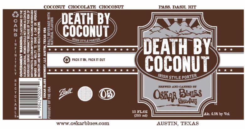 Oskar Blues Death By Coconut Porter 5.16 Gal Sixtel