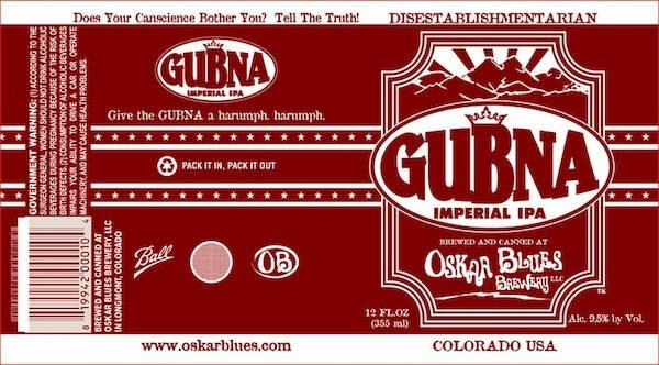 Oskar Blues Gubna Imperial IPA Sixtel Keg 5.16 Gal
