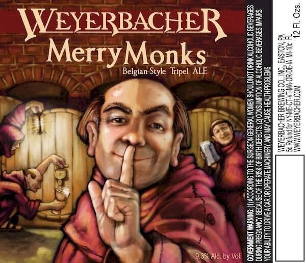 Weyerbacher Merry Monks Ale Belgian Tripel Sixtel Keg 5.16 Gal