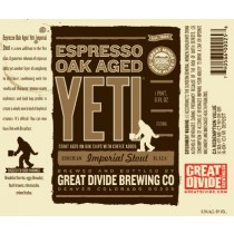 Great Divide Espresso Oak Aged Yeti Imperial Stout Sixtel Keg 5.16 Gal